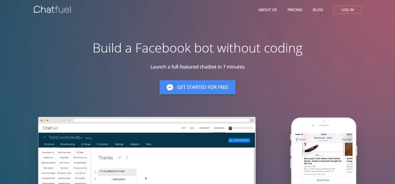 schermata sito web chatfuel