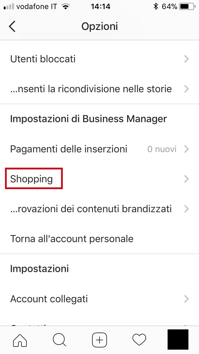 step 2 - cliccare su Shopping